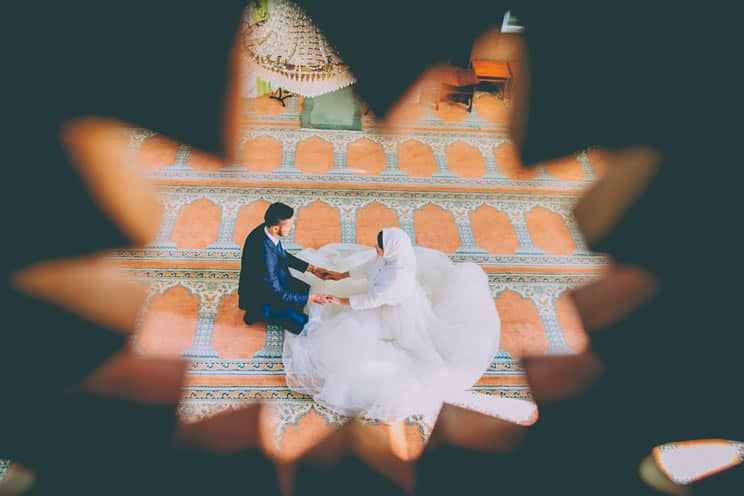Muslim couple getting married in mosque