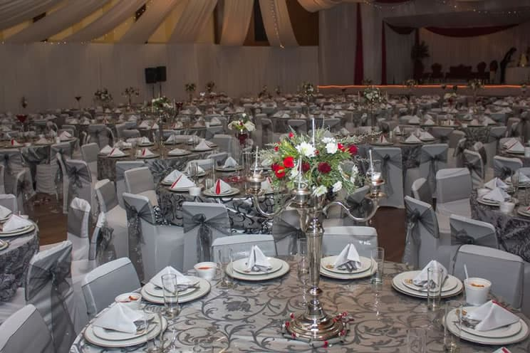Banqueting hall set up for a Muslim wedding
