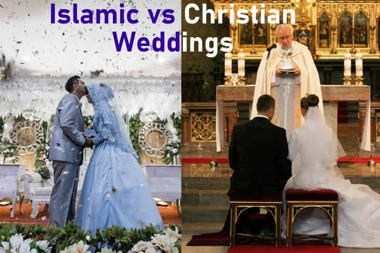 Side by side pictures of Islamic wedding and Christian wedding