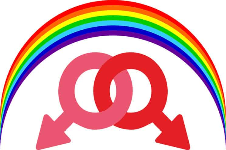 Rainbow over two male intertwined symbols